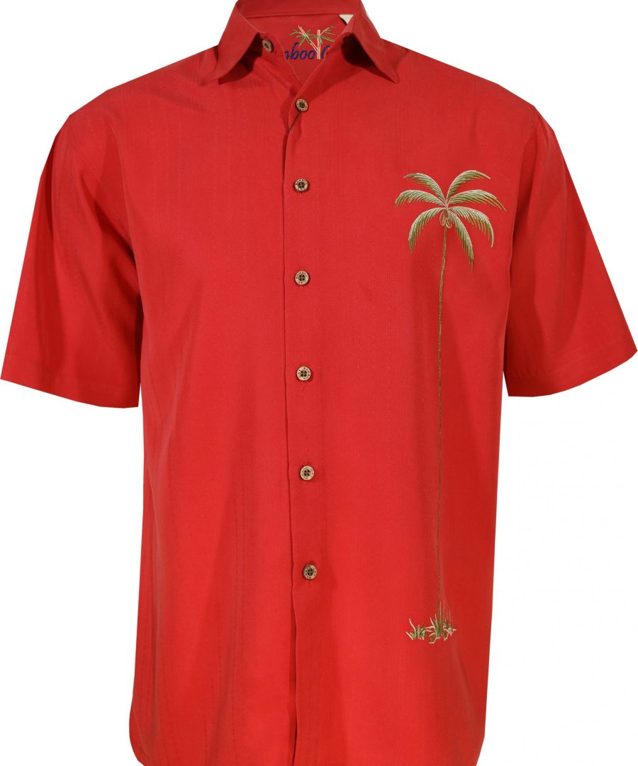 single palm embroidered bamboo cay shirts men