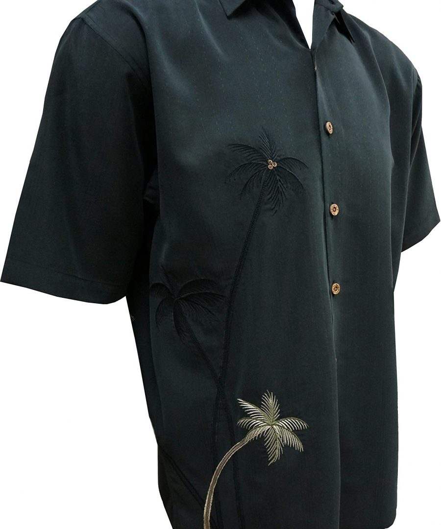 Bamboo Cay Men's Flying Palms Short Sleeve Embroidered Camp Shirt